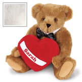"""15"""" Romantic at Heart Bear - Seated jointed bear with tuxedo collar and plush heart pillow, which is personalized with """"Sarah"""" - Vanilla image number 4"""