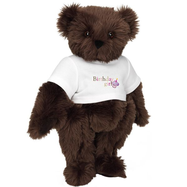 """15"""" Birthday Girl T-Shirt Bear - Standing jointed bear dressed in white t-shirt with colorful graphic that says, """"Birthday Girl' with purple cupcake and one candle - Espresso brown fur image number 7"""