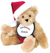 "15"" Baby's First Christmas Bear - Seated jointed bear dressed in red velvet diaper with santa hat and white and green bib that says ' First Christmas' in red lettering. Bib is personalized with ""Jamie"" in dark green lettering - Maple brown fur image number 4"