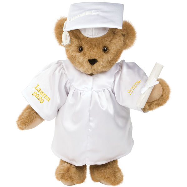 """15"""" Graduation Bear in White Gown - Front view of standing jointed bear dressed in black satin graduation gown and cap and holding a rolled up diplomapersonalized """"Jackson 2020"""" on right sleeve and """"Syracuse"""" on left in gold - Honey brown fur image number 0"""