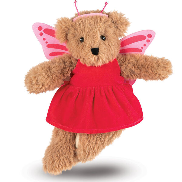 "13"" Super Soft Butterfly Bear - Front view of standing Almond Brown Bear in pink butterfly dress with wings and antenna headpiece image number 0"