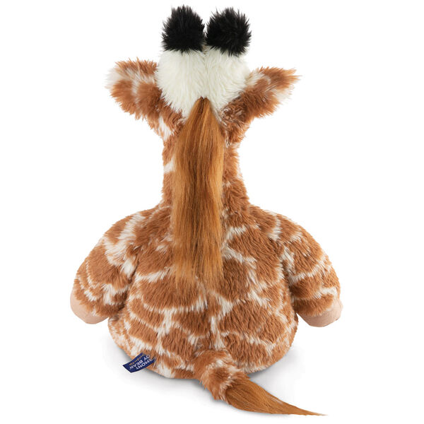 "18"" Oh So Soft Giraffe - Back view of seated brown and tan patterned Giraffe with ginger brown mane and tail, beige hooves, cream muzzle and black tipped horns  image number 4"