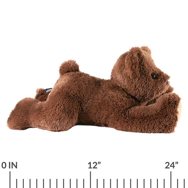 """24"""" Belly Bear - Side view of German Chocolate Bear lying on its belly with a ruler below it that measures 24"""".  image number 2"""
