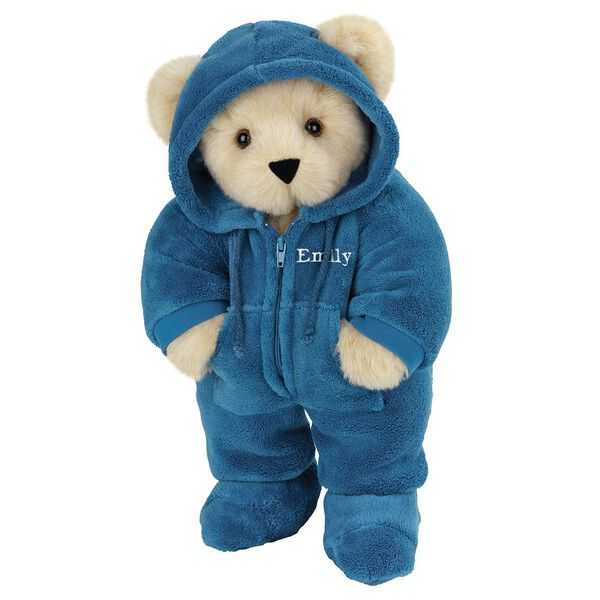 "15"" Hoodie-Footie Bear Blue - Front view of standing jointed bear dressed in blue hoodie footie personalized with ""Emily"" in white on left chest - Buttercream brown fur image number 1"