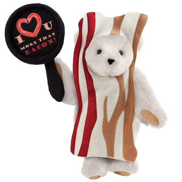"""15"""" I Love You More than Bacon - Front view of standing jointed bear dressed in tan bacon costume holding a pan that says""""I """"heart"""" U more than bacon!"""" - Vanilla white fur image number 2"""