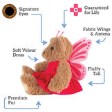 "13"" Super Soft Butterfly Bear - Side view of seated Almond Brown Bear in pink butterfly dress with wings and antenna headpiece. Text reads, ""Signature Eyes; Guaranteed For Life; Fabric Wings and Antena; Fluffy Tail; Premium Fur; Soft Velour Dress"".  image number 1"