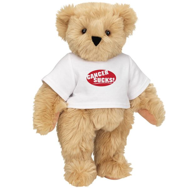 """15"""" Cancer Sucks T-Shirt Bear - Standing jointed bear dressed in white t-shirt with red graphic that says, """"Cancer Sucks!"""" - Maple brown fur image number 6"""