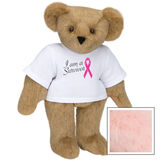 """15"""" Breast Cancer Survivor T-Shirt Bear - Standing jointed bear dressed in white t-shirt with bright pink cancer ribbon and says, """" I am a Survivor"""" - Pink image number 5"""