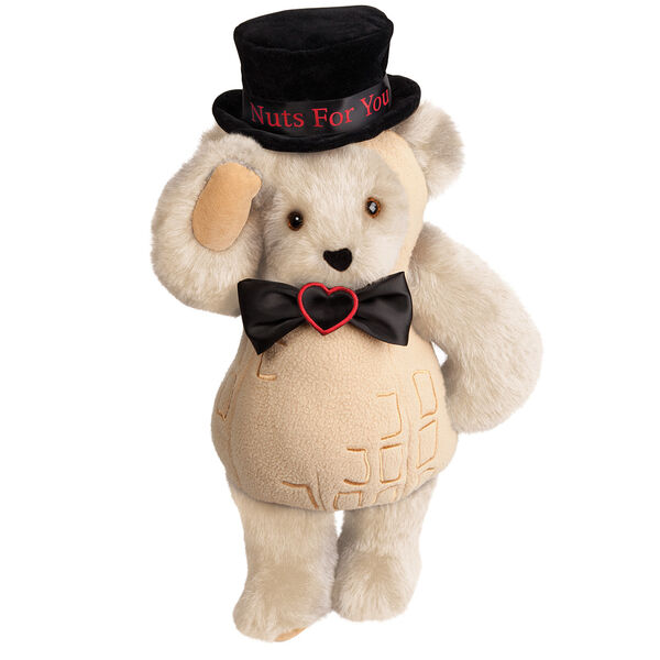 """15"""" Nuts for You - Front view of standing jointed bear dressed in a tan peanut costume with black bow with black top hat that says """"Nuts for You"""" in red on black satin band - Buttercream brown fur image number 1"""