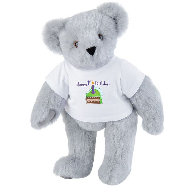 """15"""" 1st Birthday T-Shirt Bear-Chocolate Cake - Standing jointed bear dressed in a white t-shirt with a slice of chocolate cake artwork that says, """"Happy 1st Birthday!"""" on the front of the shirt - Gray fur image number 4"""