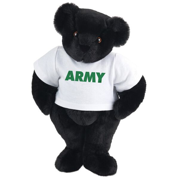 "15"" Army T-Shirt Bear - Standing jointed bear dressed in a white t-shirt says, ""ARMY"" in green lettering on the front of the shirt - Black fur image number 3"
