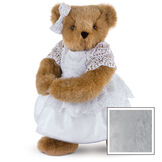 """15"""" Special Occasion Girl Bear - Three quarter view of standing jointed bear dressed in a white satin dress and hair bow with white lace trim - Gray image number 4"""