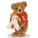 """15"""" Puppy Love Bear - 15"""" Standing Bear wearing a red satin bow and comes with plush puppy. Bow is personalized with """"Sarah"""" on the left tail - Honey image number 0"""
