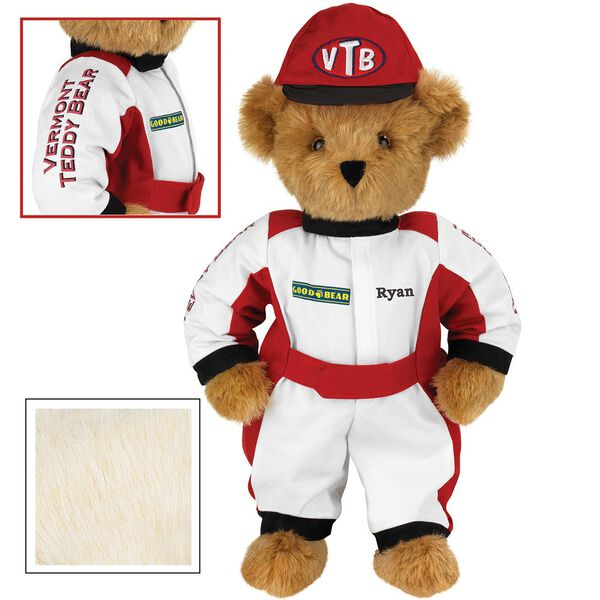 """15"""" Racecar Driver Bear - Front view of standing jointed bear dressed in red and white racing suit and hat with """"Vermont Teddy Bear"""" on sleeve, """"Good Bear"""" on chest and """"VTB"""" on hat. Personalized with """"Ryan"""" on in black -Buttercream brown fur image number 1"""