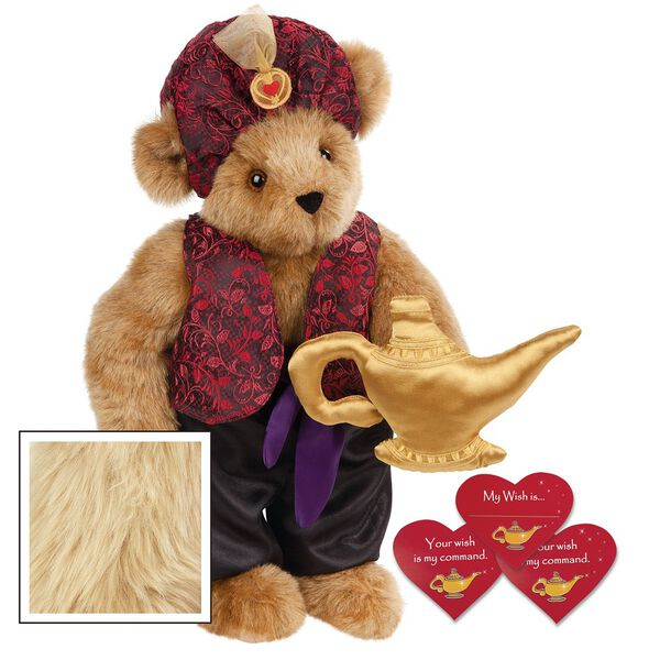 """15"""" Your Wish Is My Command Bear - Front view of standing jointed bear dressed in a red brocade turban and vest, purple belt and black satin pants. Comes with gold genie lamp and 3 wish cards - Maple brown fur image number 6"""
