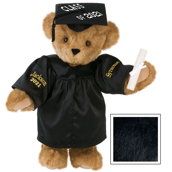 """15"""" Graduation Bear in Black Gown - Front view of standing jointed bear dressed in black satin graduation gown and cap and holding a rolled up diploma personalized """"Jackson 2021"""" on right sleeve and """"Syracuse"""" on left in gold - Black image number 3"""