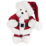 "15"" Santa Claus Bear - Front view of standing jointed bear dressed in red velvet and white fur Santa suit with pants, coat and hat and black blet - Vanilla white fur image number 2"