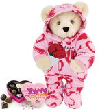 """15"""" Sweetheart Hoodie-Footie Bear with Red Roses and Chocolates - Standing jointed bear dressed in pink and red heart hoodie footie with rose bouquet and 6 pc. chocolates. Personalized with """"Anne"""" in black on left chest - Buttercream brown fur image number 1"""