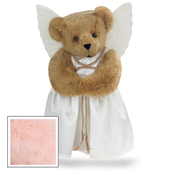 "15"" Angel Bear - Standing jointed bear in a ivory satin dress with satin angel wings and gold metallic halo - Pink fur image number 4"