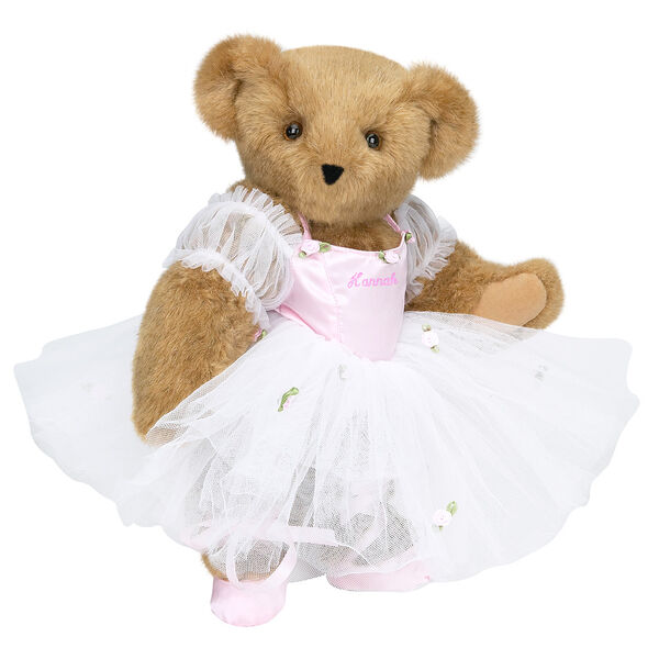 """15"""" Ballerina Bear - Standing jointed bear dressed in pink satin and tulle dress and ballet slippers. Center front of dress is personalized with """"Hannah"""" in bright pink lettering - Honey brown fur image number 0"""