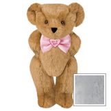"""15"""" """"It's a Girl!"""" Bow Tie Bear - Standing jointed bear dressed in light pink satin bow tie with """"It's a Girl!"""" is embroidered on heart center - Gray image number 4"""