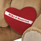 """Huggable Heart Pillow - Red fleece pillow with white diagonal sash across middle personalized with """"Mike and Maureen"""". image number 0"""
