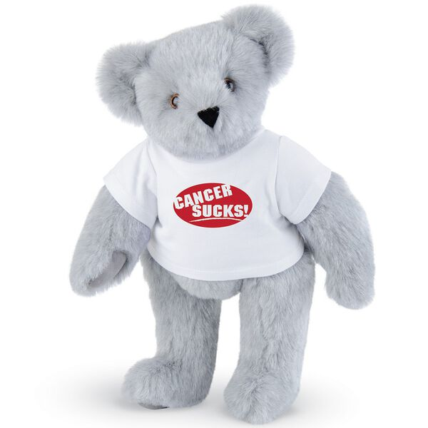 """15"""" Cancer Sucks T-Shirt Bear - Standing jointed bear dressed in white t-shirt with red graphic that says, """"Cancer Sucks!"""" - Gray fur image number 4"""