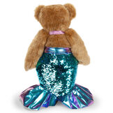 """15"""" Mermaid Bear - Back view of standing jointed bear dressed in a blue sequin tail and purple top with shell embroidery an pink starfish applique and earpiece - honey brown fur image number 13"""
