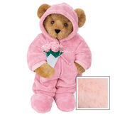 """15"""" Hoodie Footie Bear with Roses - Front view of standing jointed bear dressed in pink hoodie footie and holding pink bouquet of rosespersonalized with """"Emily"""" in white on left chest - Pink image number 5"""