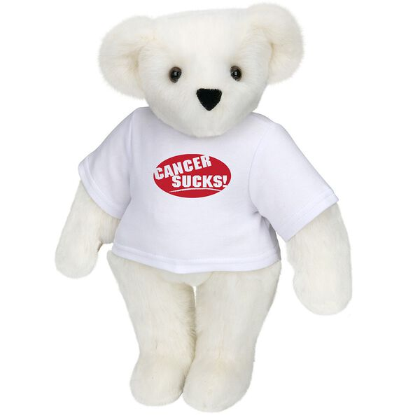 """15"""" Cancer Sucks T-Shirt Bear - Standing jointed bear dressed in white t-shirt with red graphic that says, """"Cancer Sucks!"""" - Vanilla white fur image number 2"""