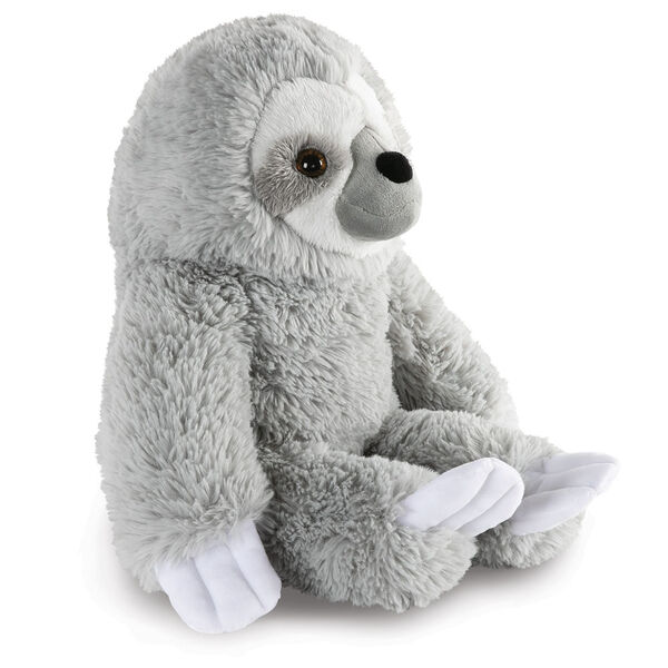 """18"""" Oh So Soft Sloth - Side view of seated gray 18"""" Sloth with white claws and face image number 6"""