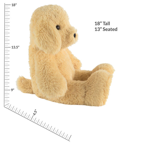 """18"""" Oh So Soft Puppy - Front view of seated tan 18"""" Puppy with tail and ivory foot pads measuring 18 in or 45 cm tall when standing image number 5"""