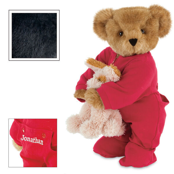 """15"""" Christmas Bedtime Bear with Puppy - Standing jointed bear dressed in white red dropseat onesie with 6"""" tan puppy. Inset image shows """"Jonathan"""" personalized on rear flap of PJ in white - Black fur image number 3"""