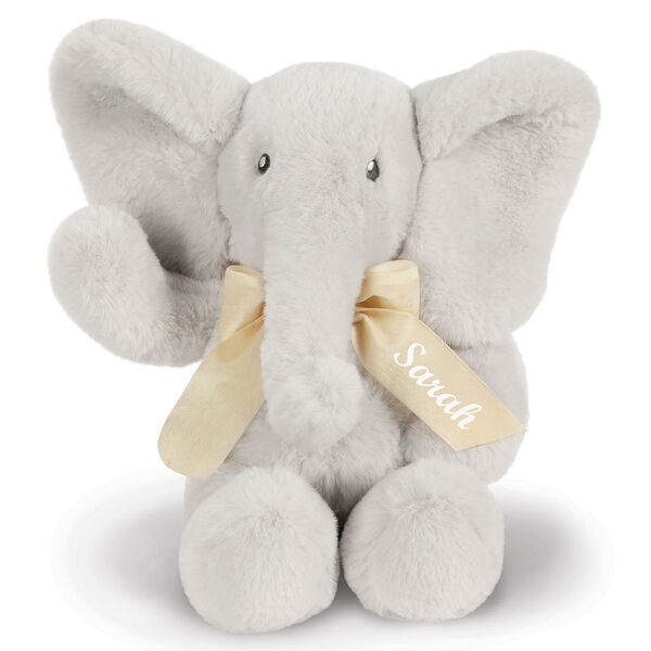"13"" Cuddle Cub Elephant Bear with Bow - Front view of gray elephant with cream velvet bow image number 0"
