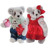 """15"""" Zombie Love and Zombie Sweetheart Bear - Front view of standing jointed bears with blackened eyes, embroidered scars and red heart tattoo on right arms wearing torn t-shirt and jeans and red velvet dress and hairbow - gray fur image number 1"""