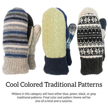 Bernie Mittens in Cool Colors and Traditional Patterns