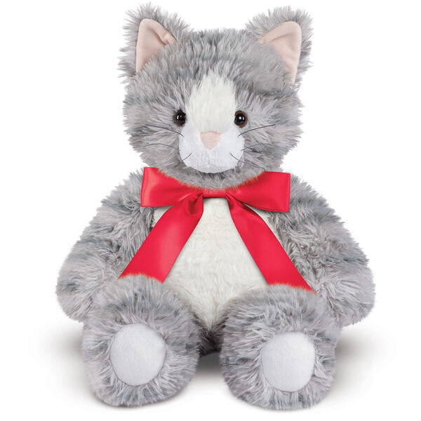 "18"" Oh So Soft Kitten - Front view of seated 18"" gray striped kitten with white muzzle, belly and foot pads wearing a red satin bow with tails  image number 8"