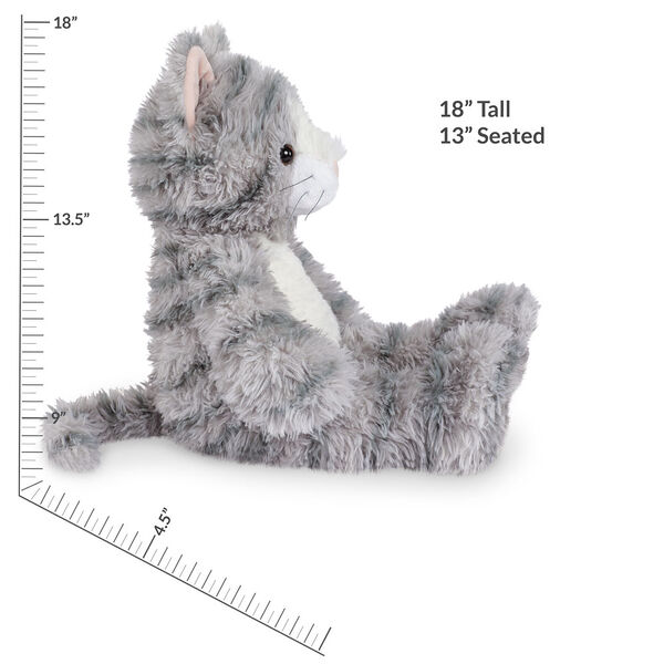 """18"""" Oh So Soft Kitten - Front view of seated 18"""" gray striped kitten with white muzzle, belly and foot pads measuring 18 in or 45 cm tall when standing image number 4"""
