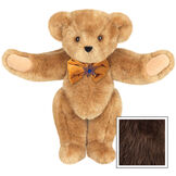 """15"""" Jewish Classic Bear - Front view of standing jointed bear dressed in gold velvet bow tie with Star of David in center - Espresso image number 7"""