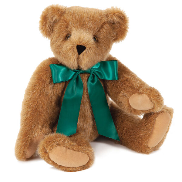 "15"" Green Ribbon Bow Bear  - Front view of seatedjointed bear dressed in a green satin bow with tails - Honey brown fur image number 1"