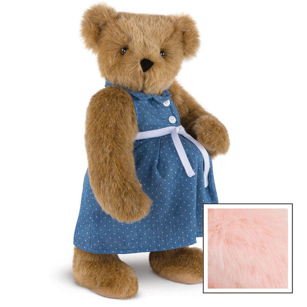 """15"""" Cub in the Oven - Three quarter view of standing pregnant jointed bear dressed in a blue dress with white dots and white belt.  - Pink image number 8"""