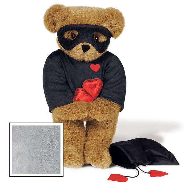 """15"""" Love Bandit Bear - Front view of standing jointed bear dressed in black turtleneck with red heart on left chest, black mask and holding a black bag with 2 chocolates - Gray image number 4"""