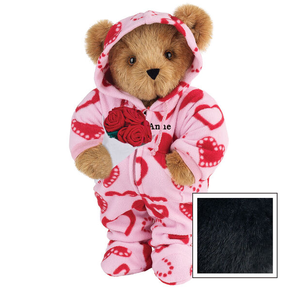 """15"""" Sweetheart Hoodie-Footie Bear with Red Roses - Front view of standing jointed bear dressed in pink hoodie footie with red heart pattern holding a bouquet of red roses, personalized with """"Anne"""" in black on left chest - Black fur image number 3"""