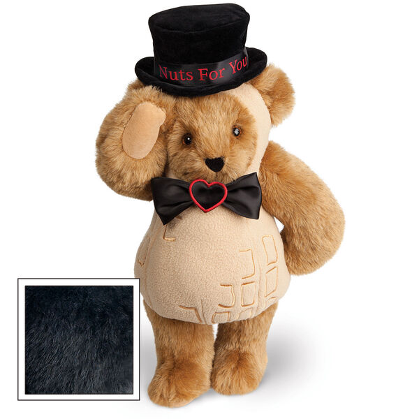 """15"""" Nuts for You - Front view of standing jointed bear dressed in a tan peanut costume with black bow with black top hat that says """"Nuts for You"""" in red on black satin band - Black fur image number 3"""