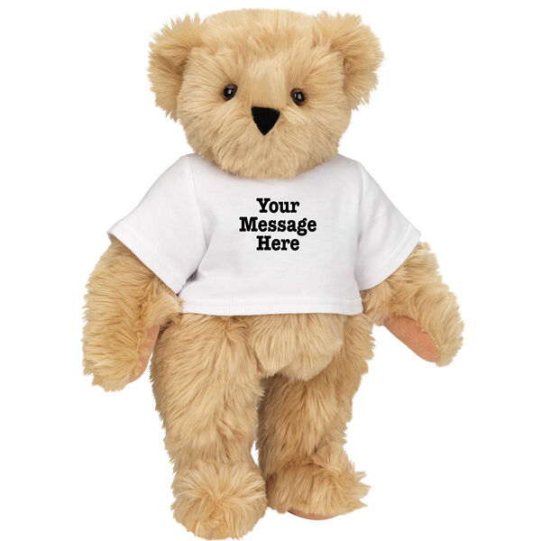 """15"""" Say Anything T-Shirt Bear - Front view of standing jointed bear dressed in white t-shirt with black graphic that says, """"Your message here"""" on the front and the back of the shirt - Maple brown fur image number 6"""