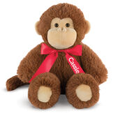 "18"" Oh So Soft Monkey - 18"" cinnamon brown monkey with tail and tan ears, muzzle and foot pads wearing a red satin bow with tails personalized with ""Cassie"" in white lettering image number 2"