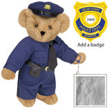 "15"" Police Officer Bear - Three quarter view of standing jointed bear dressed in a navy blue police uniform with shirt, pants, black tie and hat and holding handcuffs. Personalize with a Police badge - Gray fur image number 4"