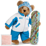 """15"""" Snowboarder Bear - Front view of standing jointed bear dressed in a blue and white snow jacket, blue pants, and holding a snowboard with graphics. Jacket is personalized with """"Jason"""" on the left chest - Pink image number 5"""