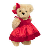 "15"" Sweetheart Teddy Bear - Three quarter view of standing jointed bear dressed in red velvet and satin dress and hair bow with heart lace trim and heart applique on front of dress - Maple brown fur image number 5"