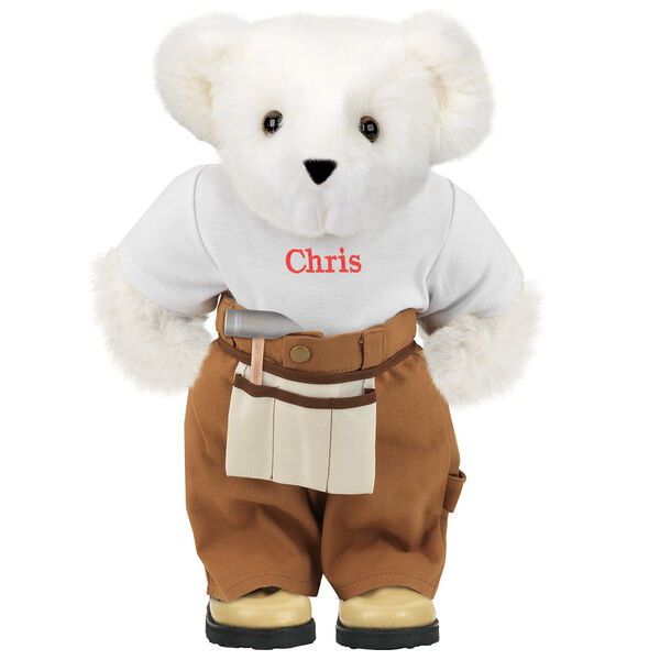"""15"""" Handy Bear - Front view of standing jointed bear dressed in tan work pants, white t-shirt and tan tool belt, personalized with """"Chris"""" on front of t-shirt in red lettering - Vanilla white fur image number 2"""